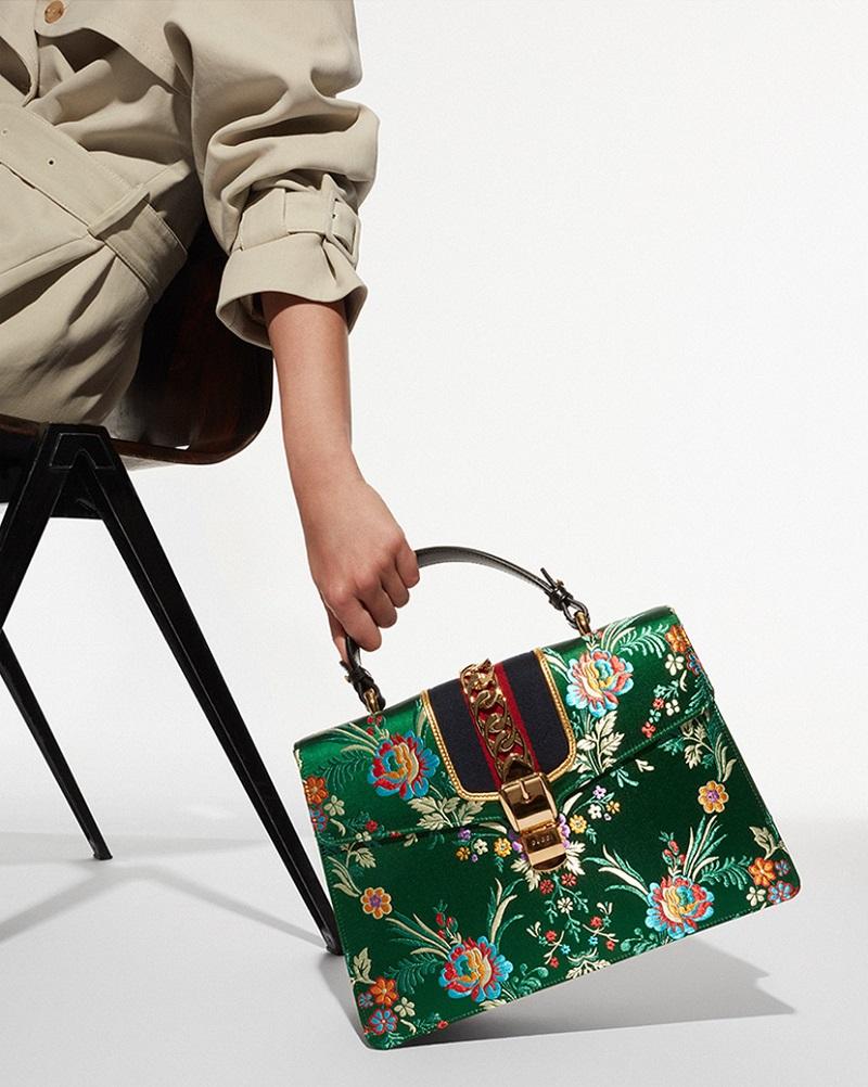 Gucci Sylvie floral-jacquard shoulder bag
