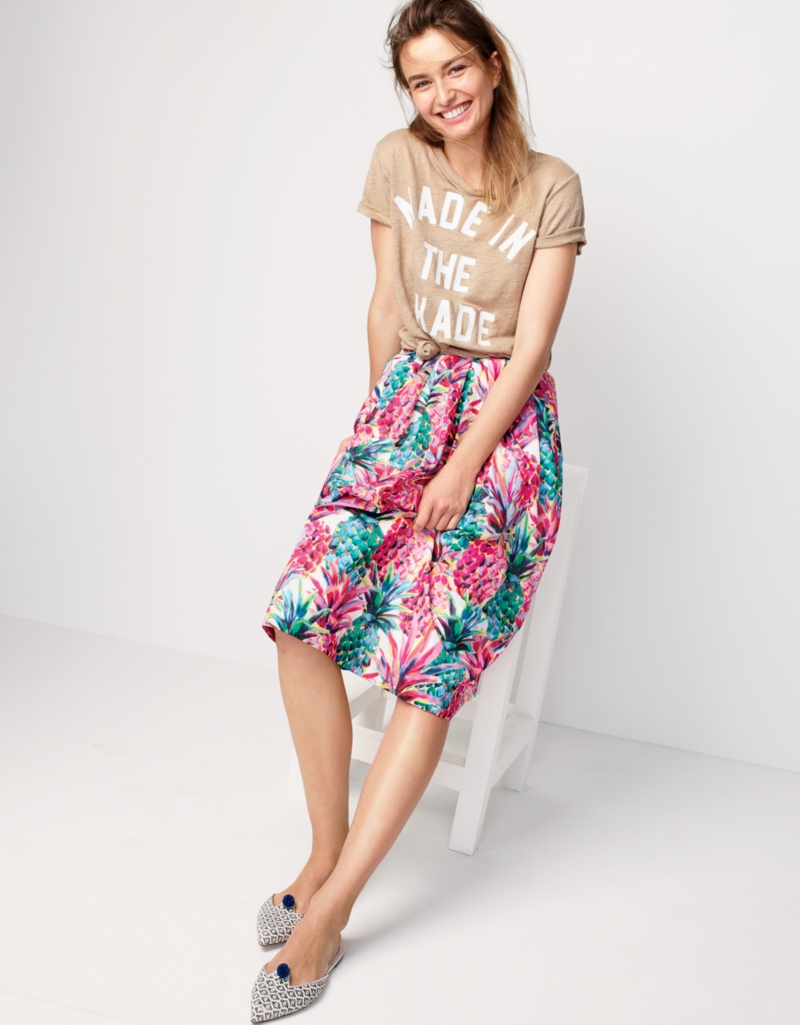 J.Crew A-Line Skirt In Ratti Painted Pineapple