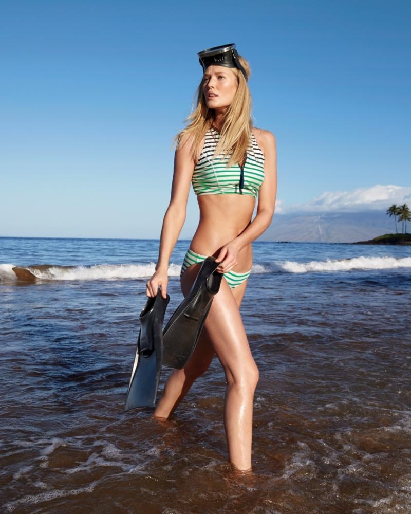 J.Crew Cropped Zip-Front Bikini Top In Ombré Stripe