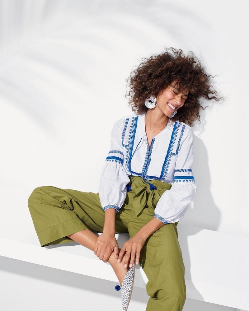 J.Crew Embroidered Linen-Cotton Top