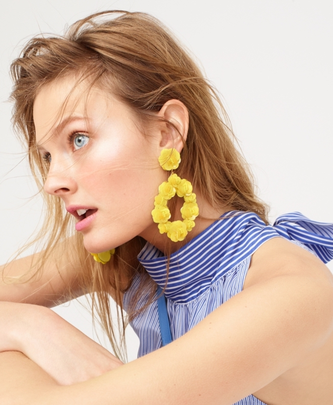 J.Crew Leather-Backed Sequin Petal Earrings
