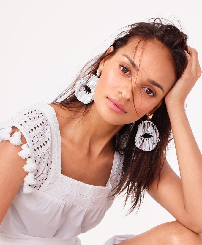 J.Crew Metallic Raffia Hoop Earrings
