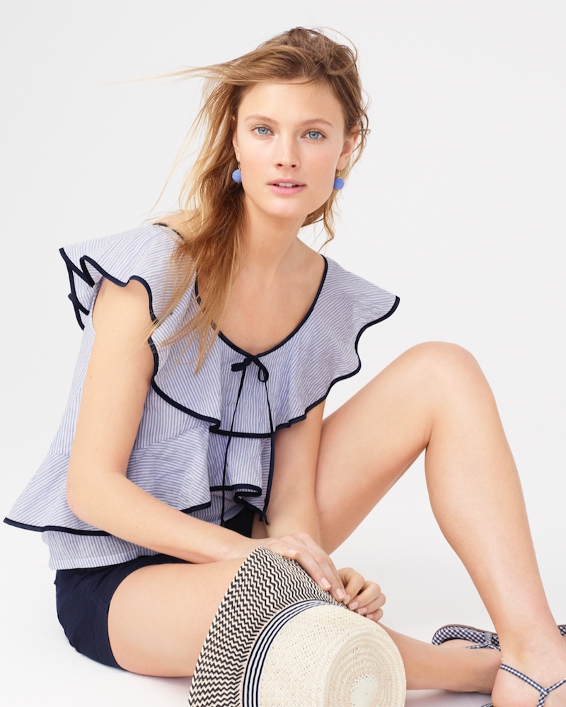 J.Crew Tipped Ruffle Top In Stripe