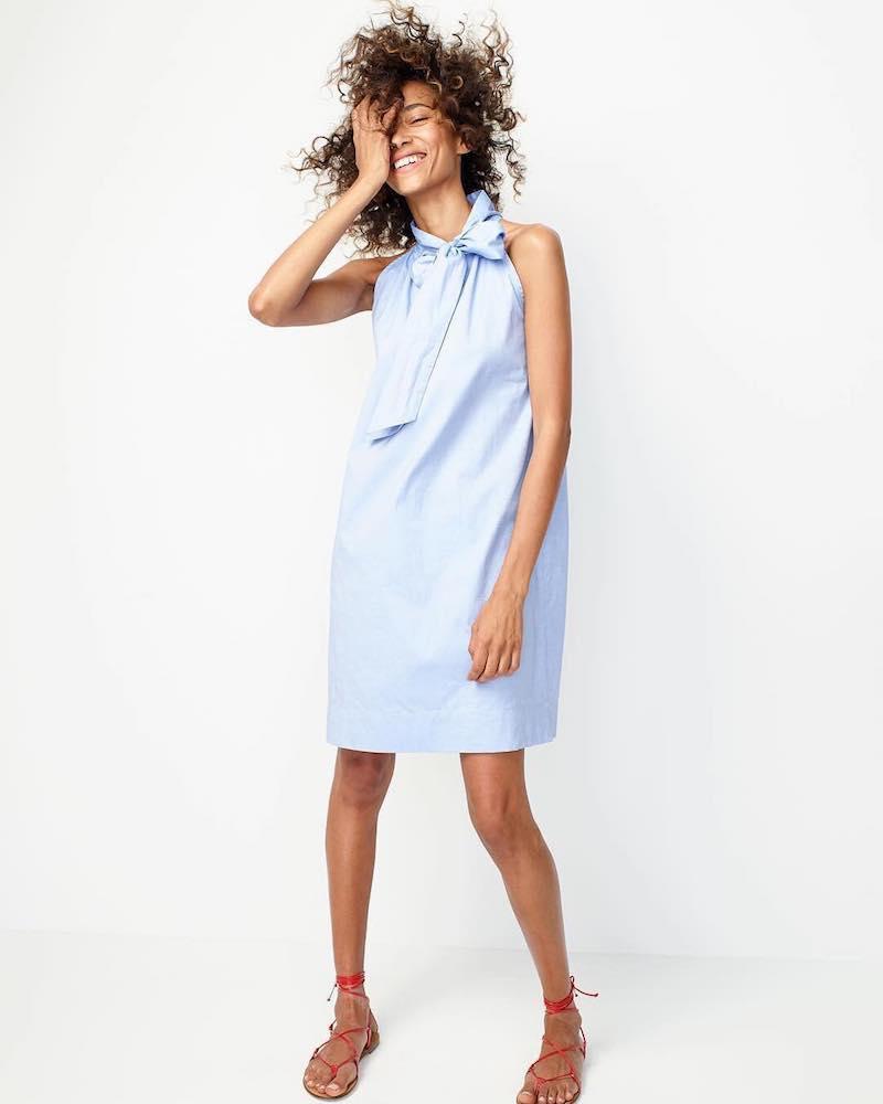 J.Crew Tie-Neck Dress In Oxford Cotton