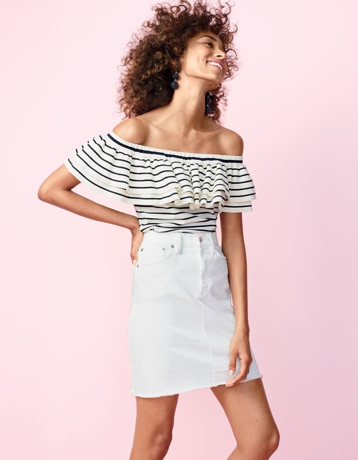 J.Crew White Denim Skirt With Raw Hem