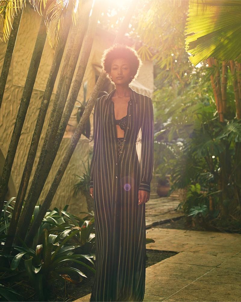 Lanvin Crystal-Button Striped Silk Shirtdress