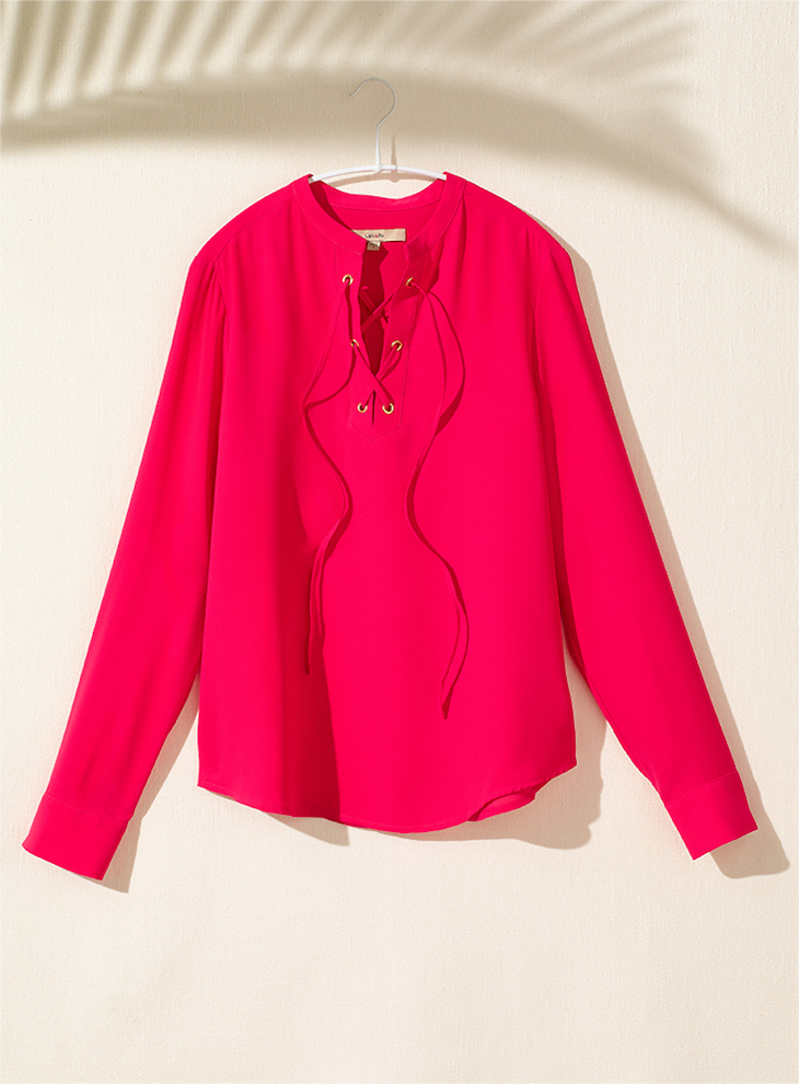 Lark & Ro Long Sleeve Top with Lace up Front