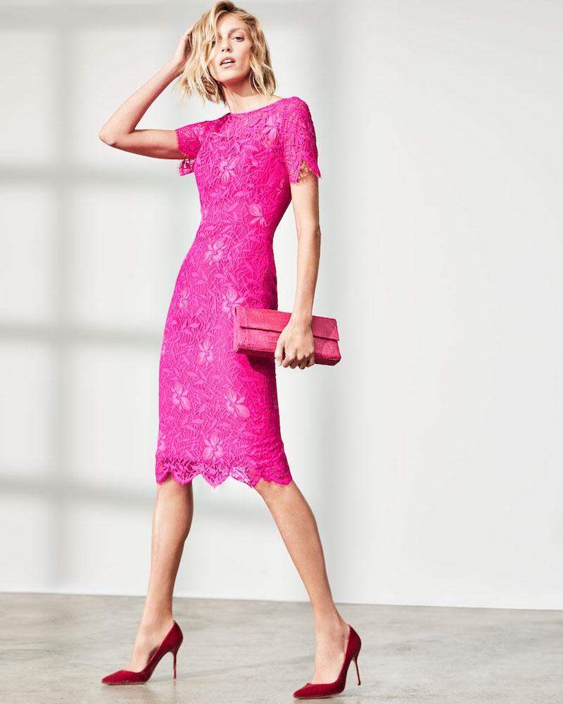 Lela Rose Floral Lace Short-Sleeve Sheath Dress