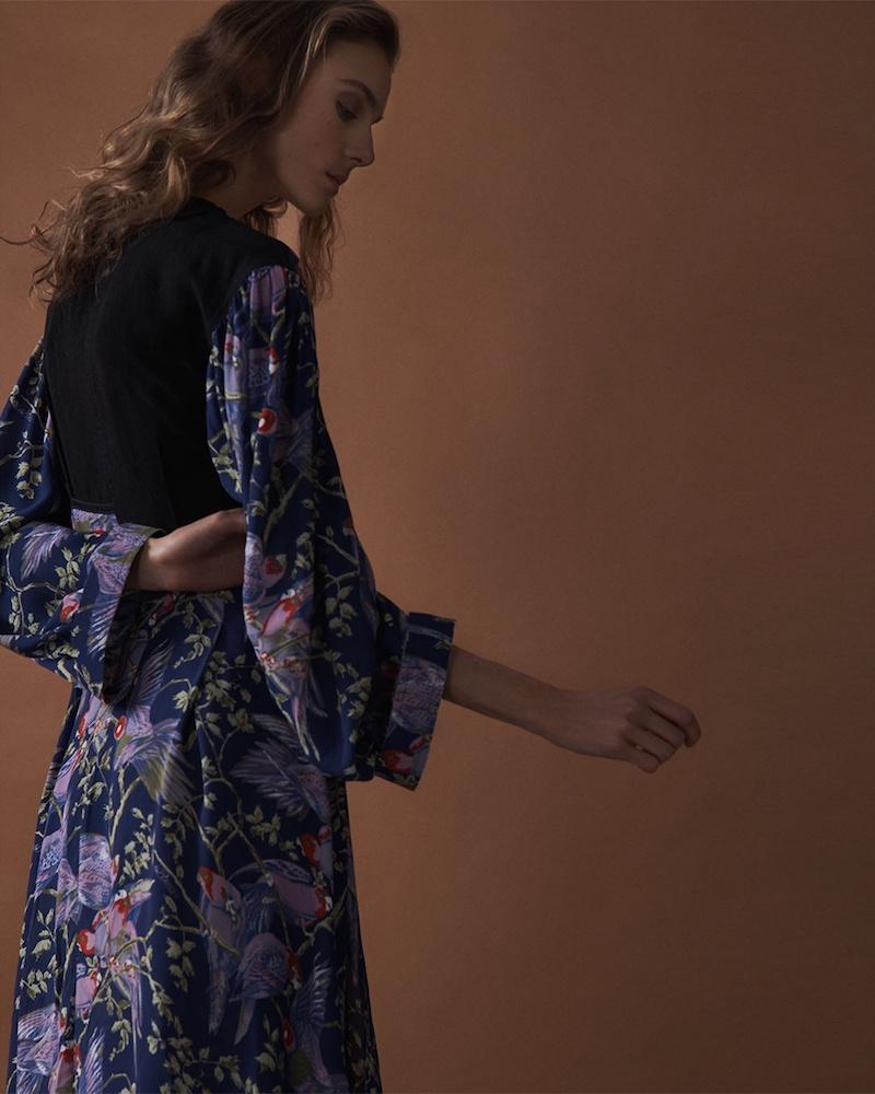 Loewe x Paula's Ibiza Bird-Print V-Neck Midi Dress
