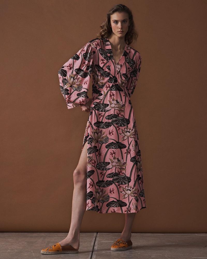 Loewe x Paula's Ibiza Floral-Print Asymmetric-Hem Midi Dress
