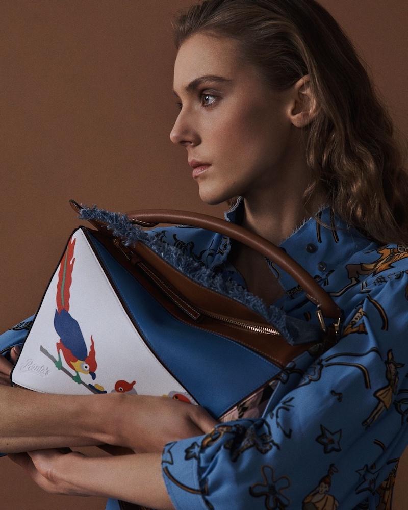 Loewe x Paula's Ibiza Puzzle Patchwork Leather And Denim Bag