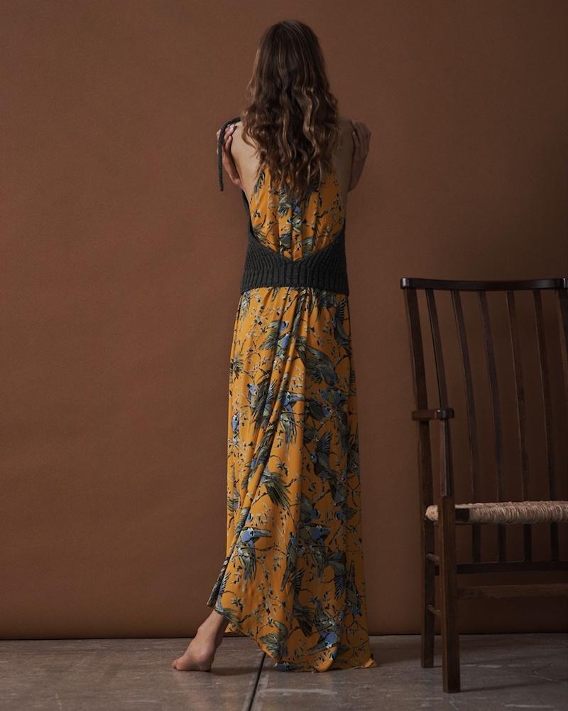 Loewe Ribbed-Knit Panel and Bird-Print Maxi Dress