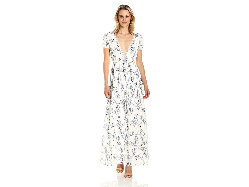 Lucca Couture Ladder Trim Tiered Printed Maxi Dress
