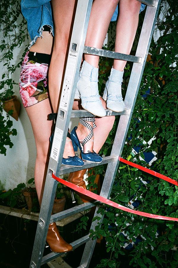 MM6 Maison Margiela Blue Denim Cube Boots