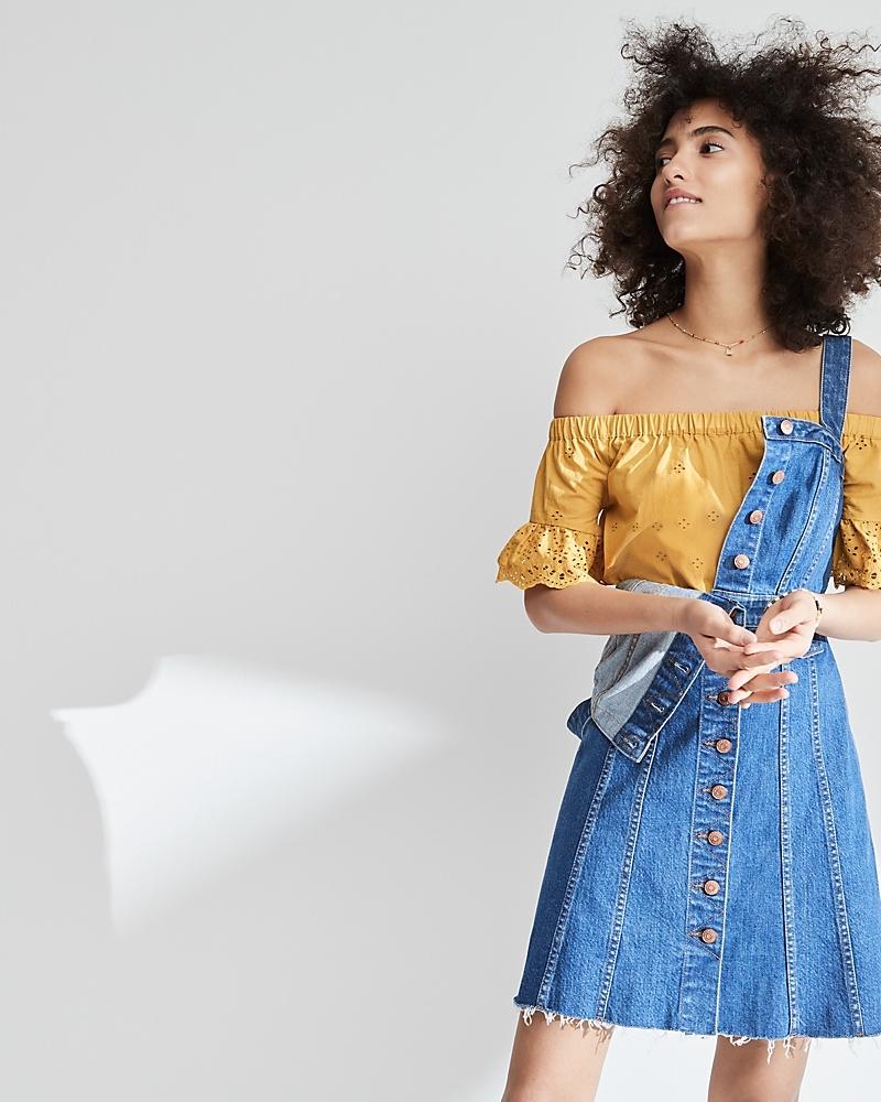 Madewell Raw-Edge Denim Button-Front Dress