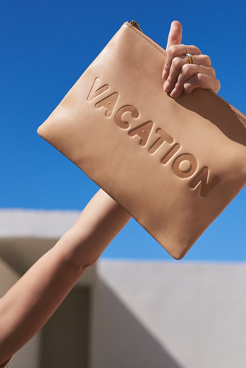 Madewell The Oversized Leather Pouch Clutch: Vacation Edition
