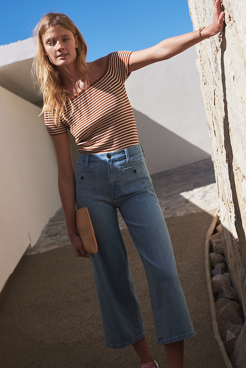 Madewell Wide-Leg Crop Jeans in Edgeley Wash: Welt Pocket Edition