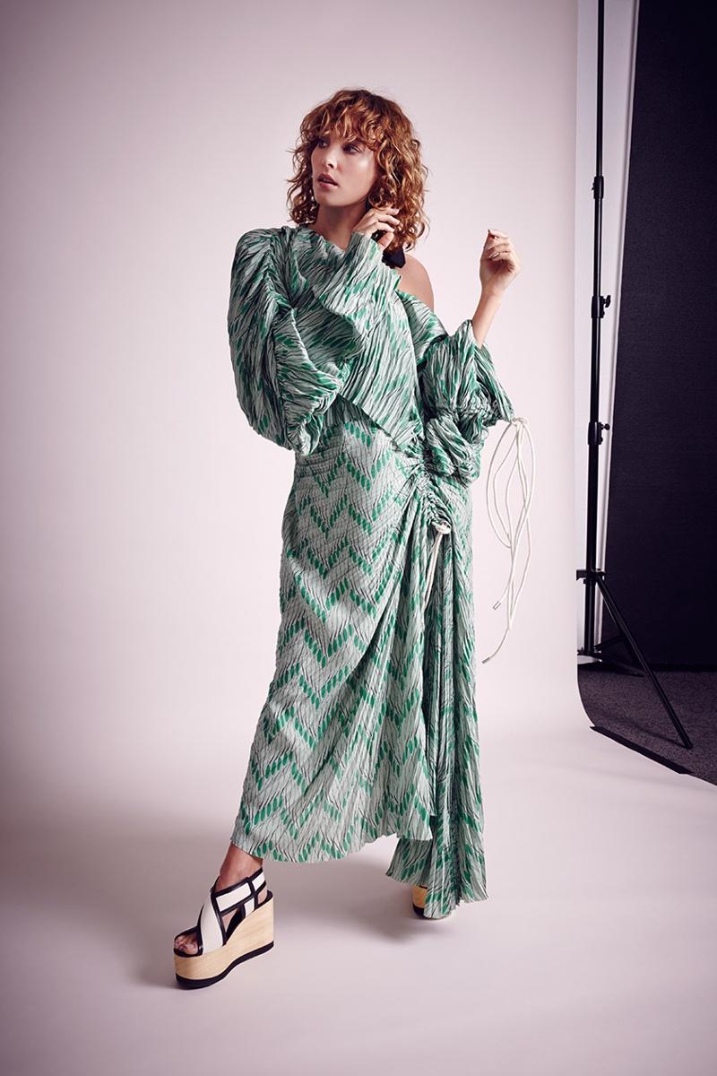 Marni Off-The-Shoulder Crepe Midi Dress