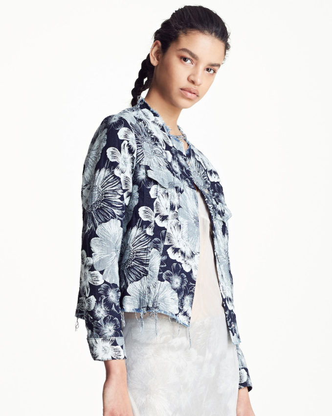 Marques'Almeida Floral Print Classic Fitted Denim Jacket