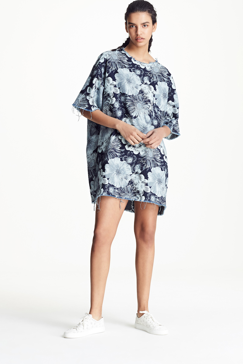Marques'Almeida Oversized Floral Print T-Shirt Dress