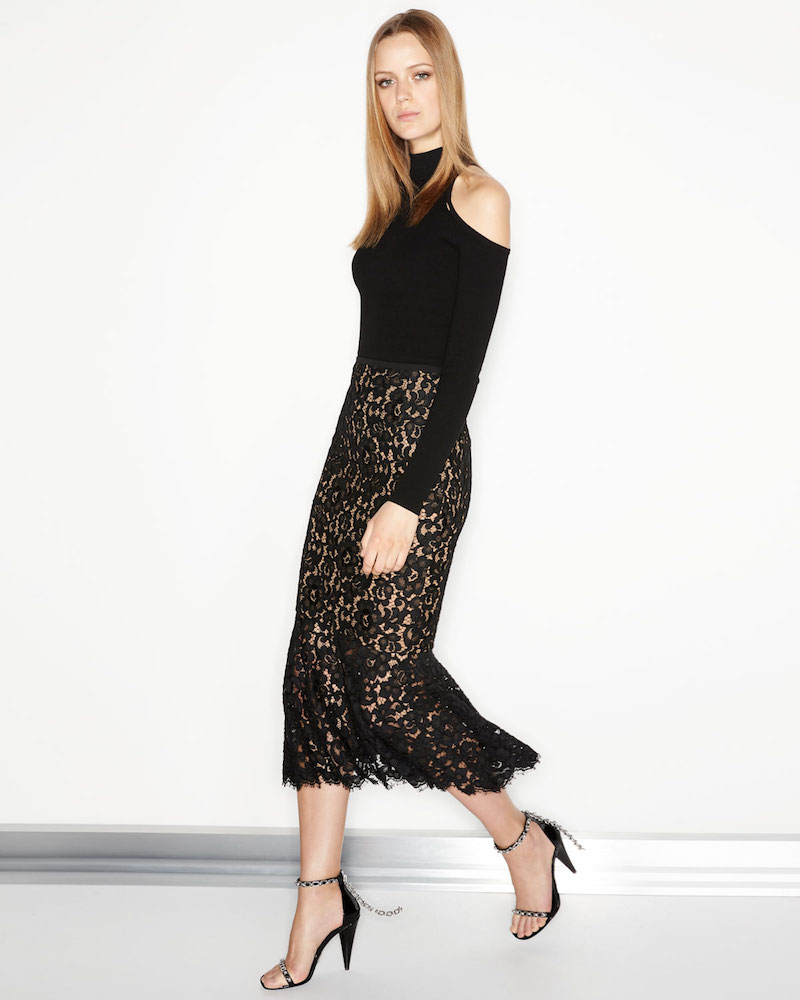Michael Kors Collection Floral Lace Trumpet Midi Skirt