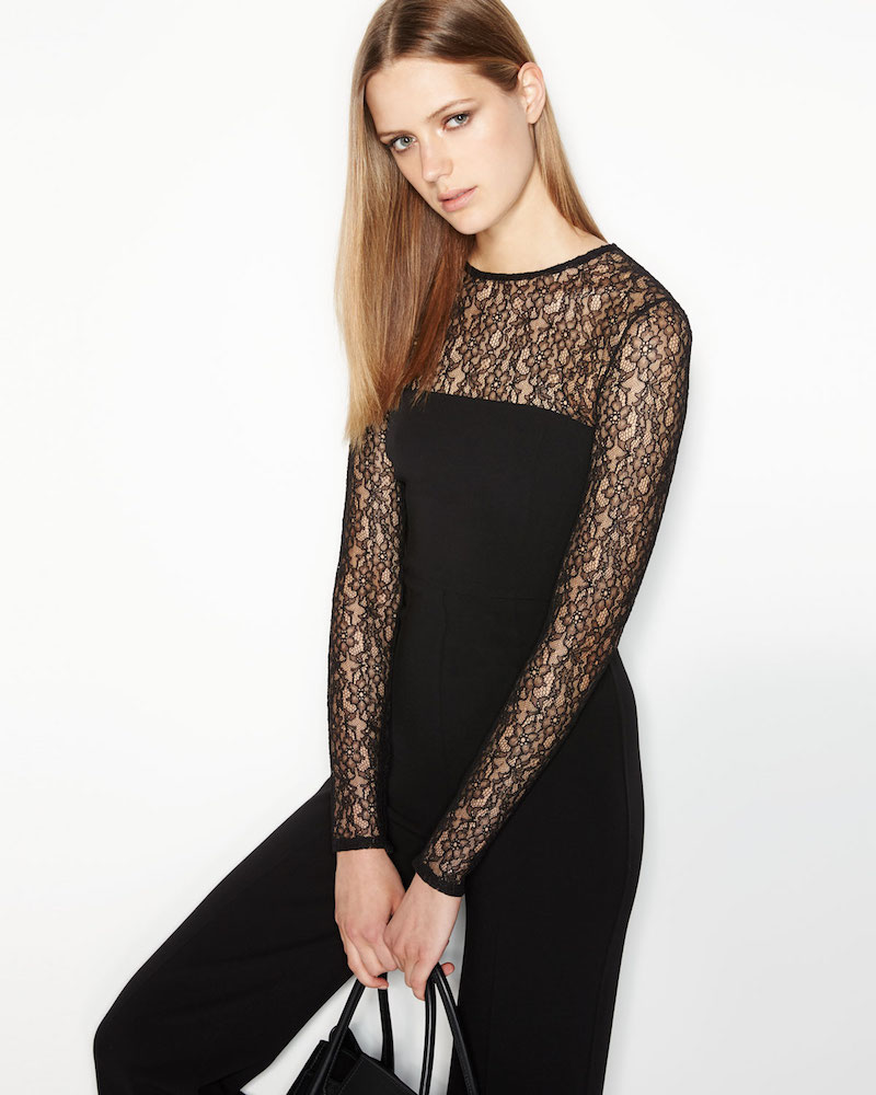 Michael Kors Collection Long-Sleeve Lace-Inset Jumpsuit