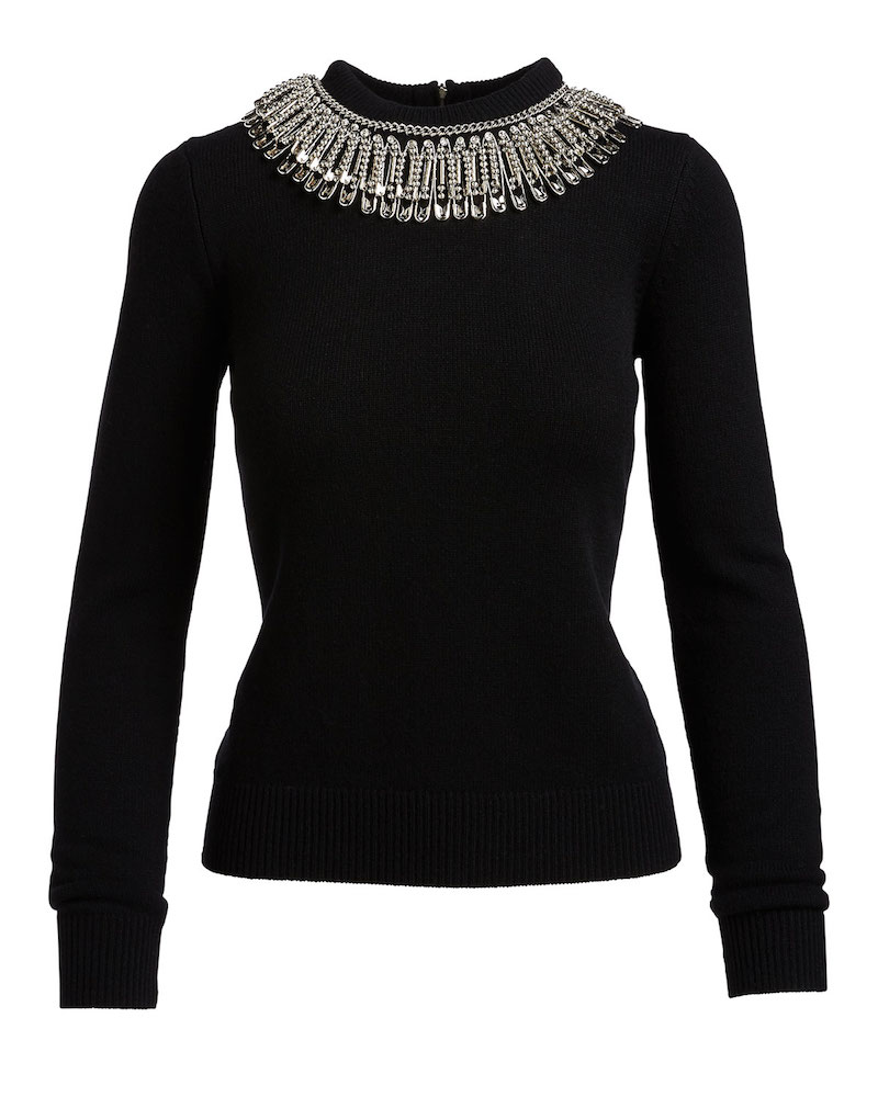 Michael Kors Collection Ribbed Cashmere Sweater with Safety Pin Necklace