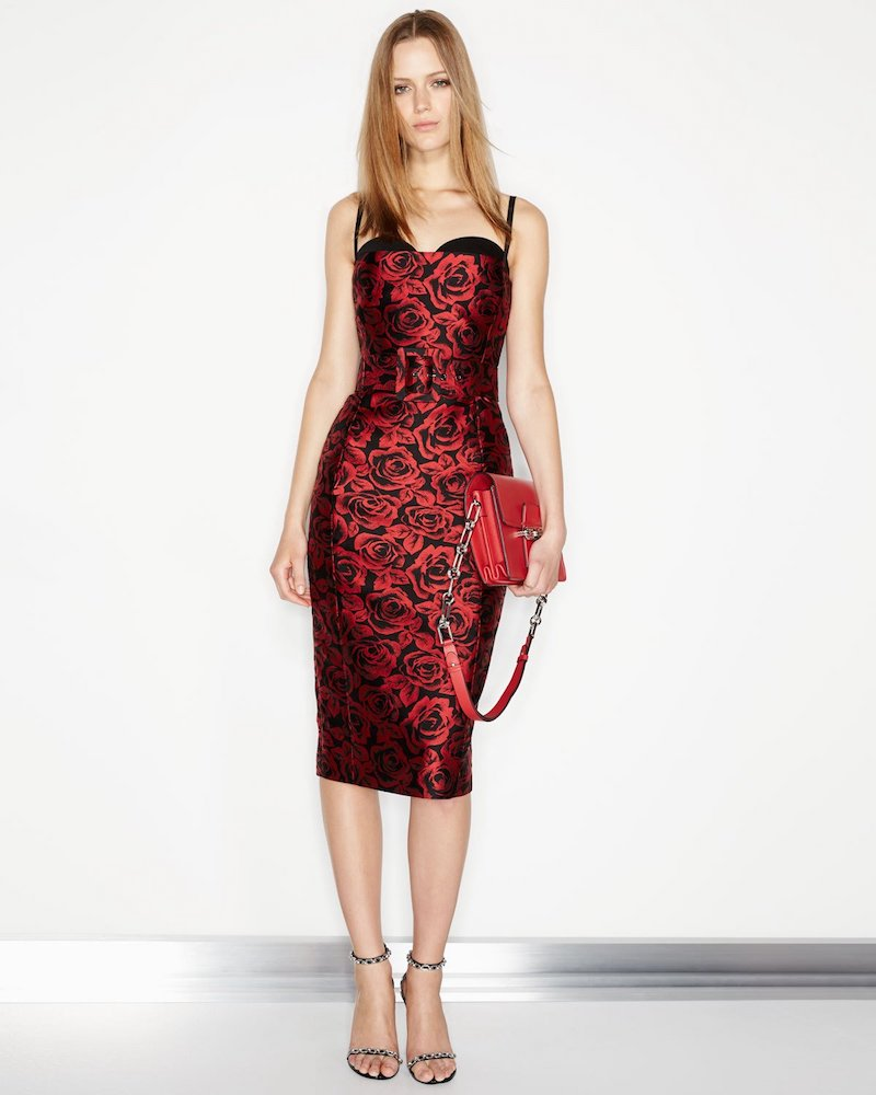 Michael Kors Collection Rose Jacquard Sleeveless Cocktail Dress