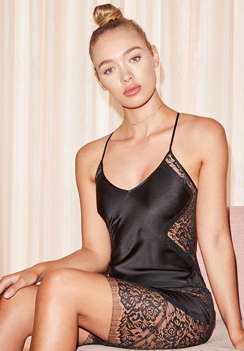 Michelle Mason Lace Slip Dress