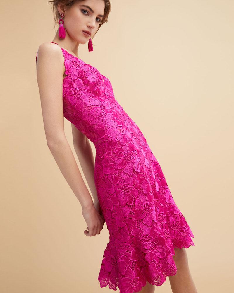 Monique Lhuillier Floral Guipure Lace Sleeveless Flounce Dress