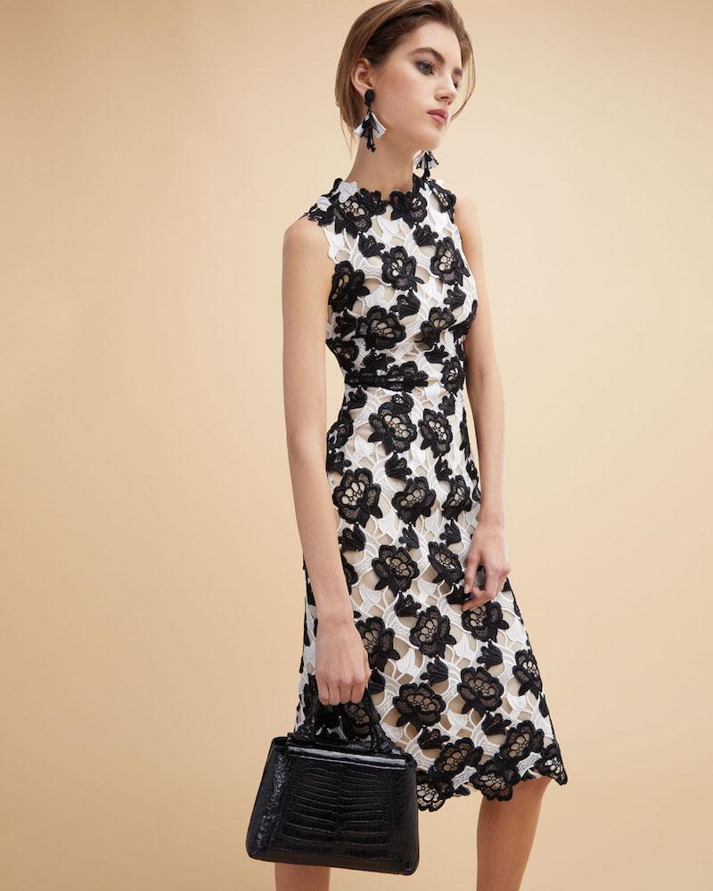 Monique Lhuillier Floral Guipure Lace Sleeveless Sheath Dress