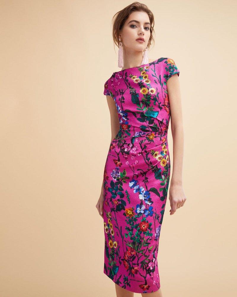 Monique Lhuillier Floral-Print Pebbled Jacquard Sheath Dress