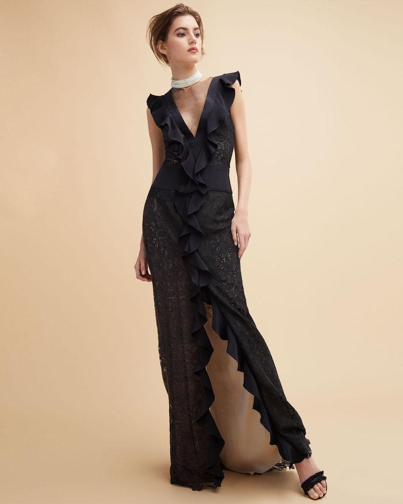 Monique Lhuillier Guipure Lace Illusion Ruffle Gown