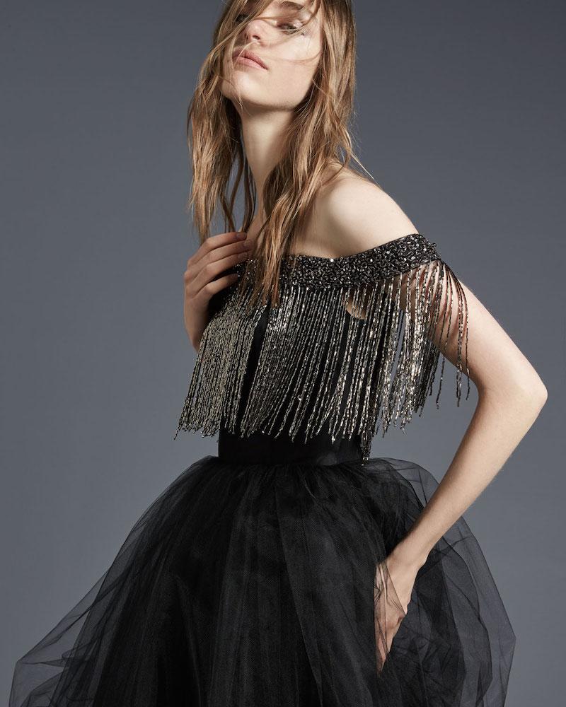 Monique Lhuillier Off-the-Shoulder Metallic Fringe Cocktail Dress