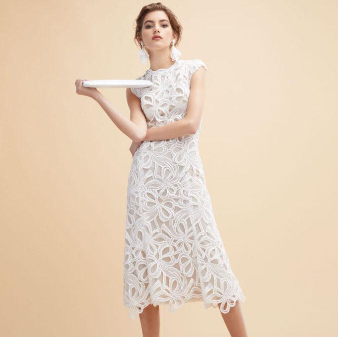 Monique Lhuillier Ribbon Guipure Lace Sleeveless Cocktail Dress