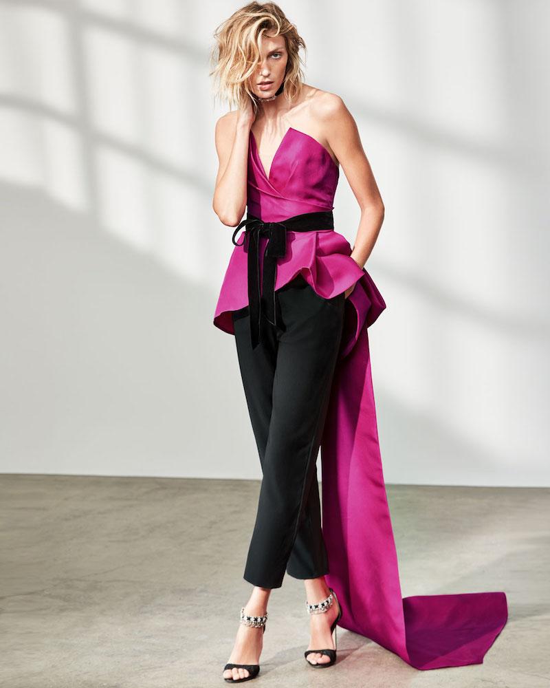 Monique Lhuillier Strapless Peplum Top with Velvet Ribbon