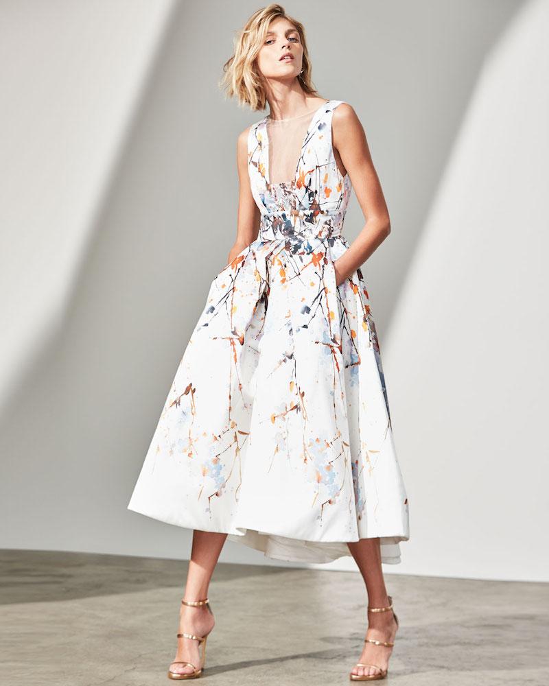 Monique Lhuillier Watercolor Mikado Sleeveless Tea-Length Gown