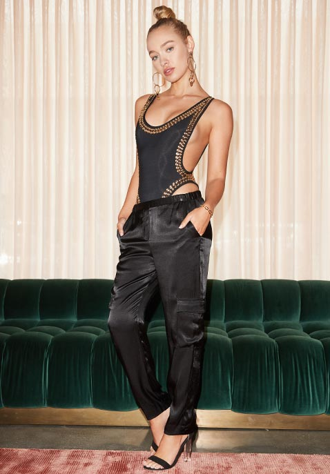 Norma Kamali Marissa Gold Stud Swimsuit