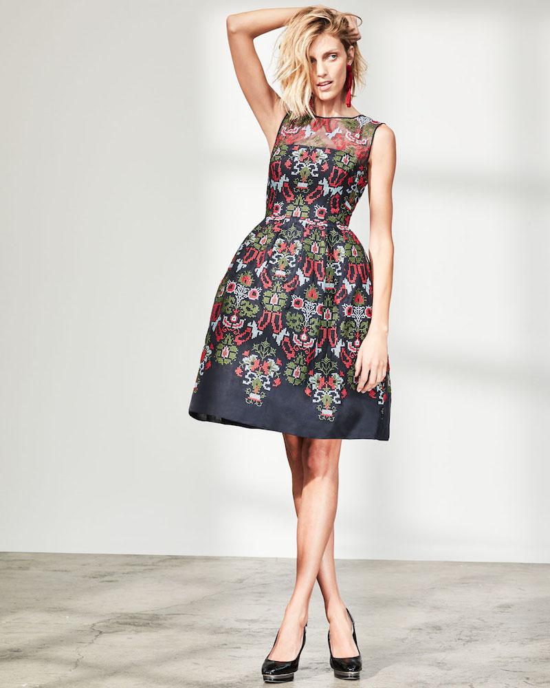 Oscar de la Renta Cross-Stitch Full-Skirt Cocktail Dress