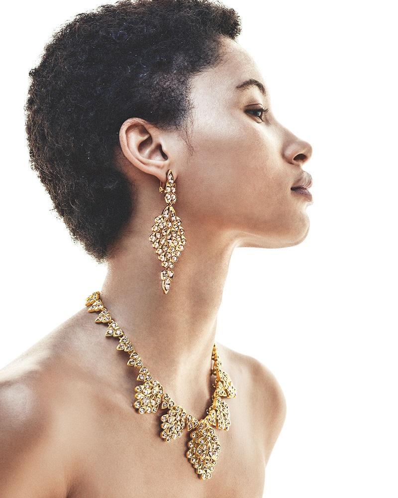 Oscar de la Renta Teardrop Crystal Statement Earrings