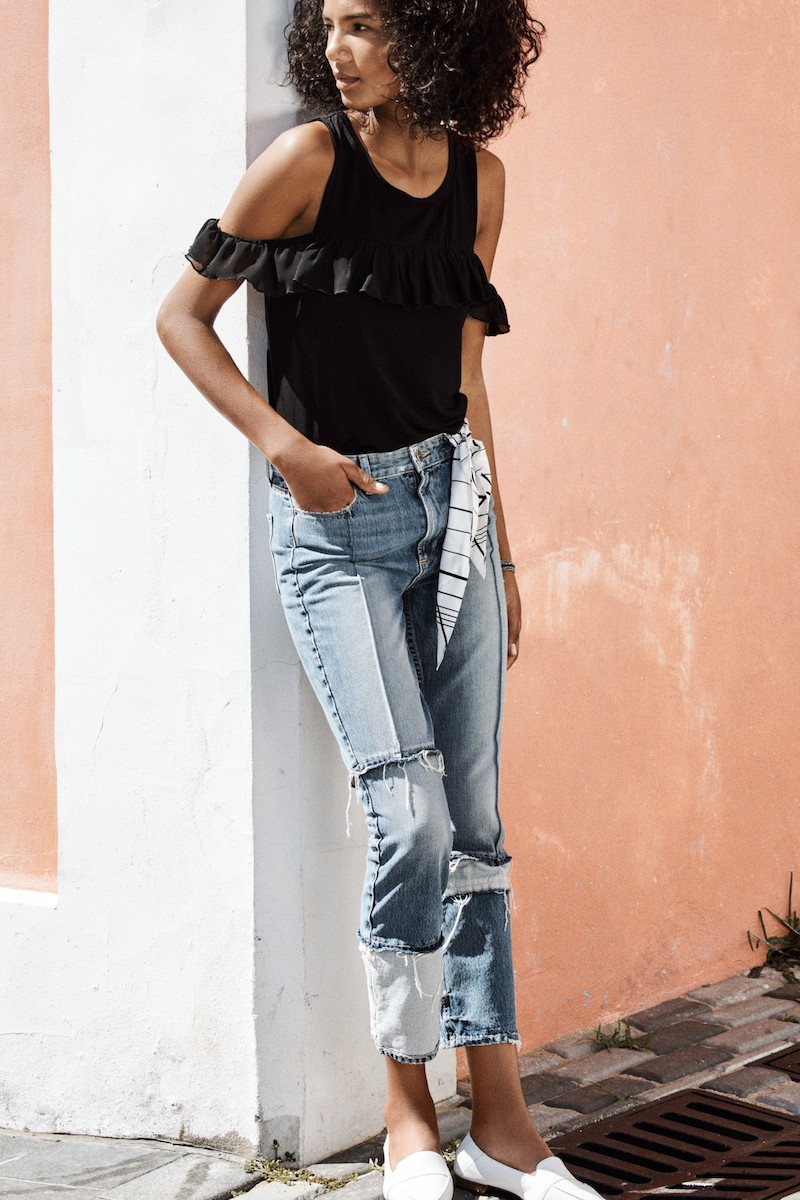 PAIGE Sarah High Waist Crop Straight Leg Jeans