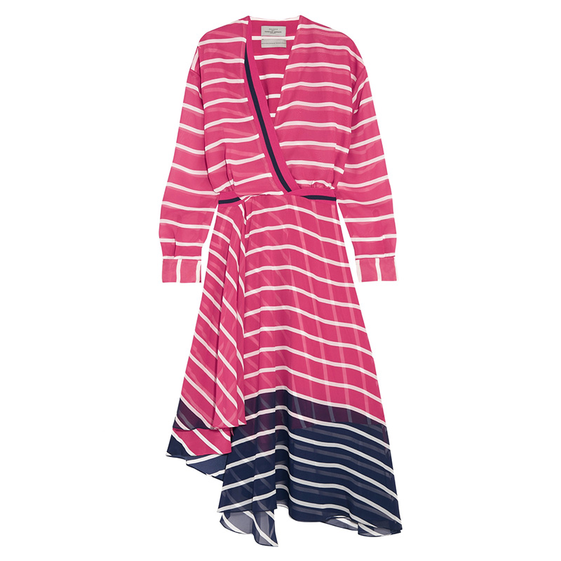 Preen by Thornton Bregazzi Flintoff Striped Silk-Chiffon Dress