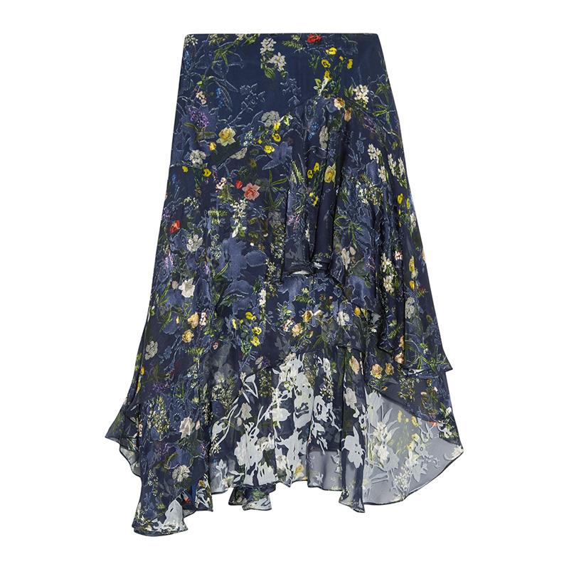 Preen by Thornton Bregazzi Laboni Floral-Print Devoré Silk-Blend Chiffon Midi Skirt