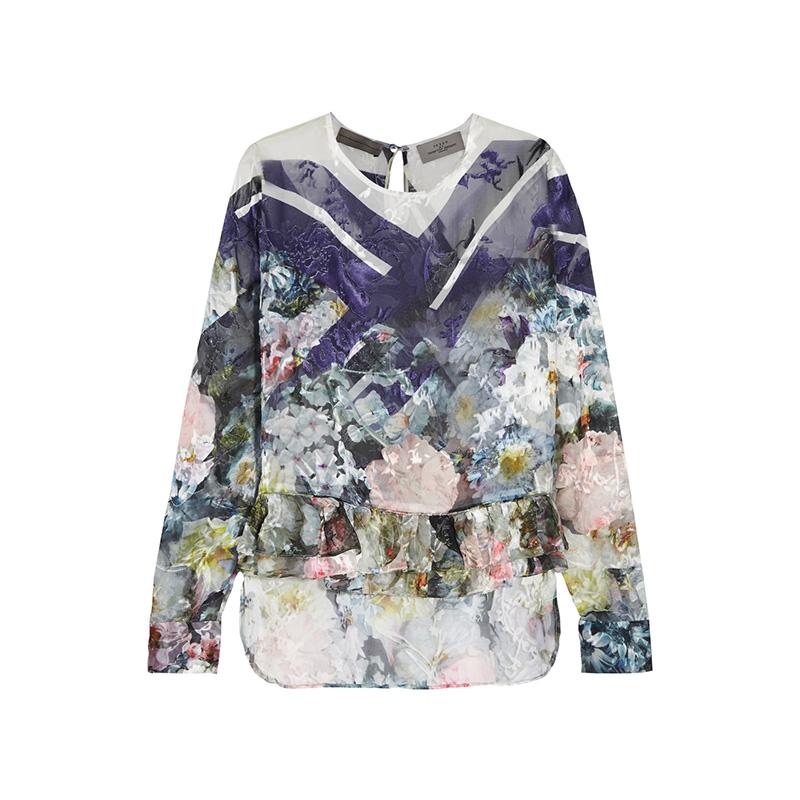 Preen by Thornton Bregazzi Neo Floral-Print Devoré Silk-Blend Chiffon Top