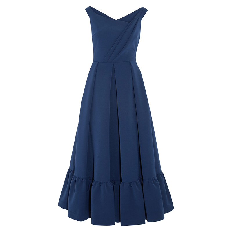 Preen by Thornton Bregazzi Palmer Pleated Stretch-Crepe Midi Dress in Indigo