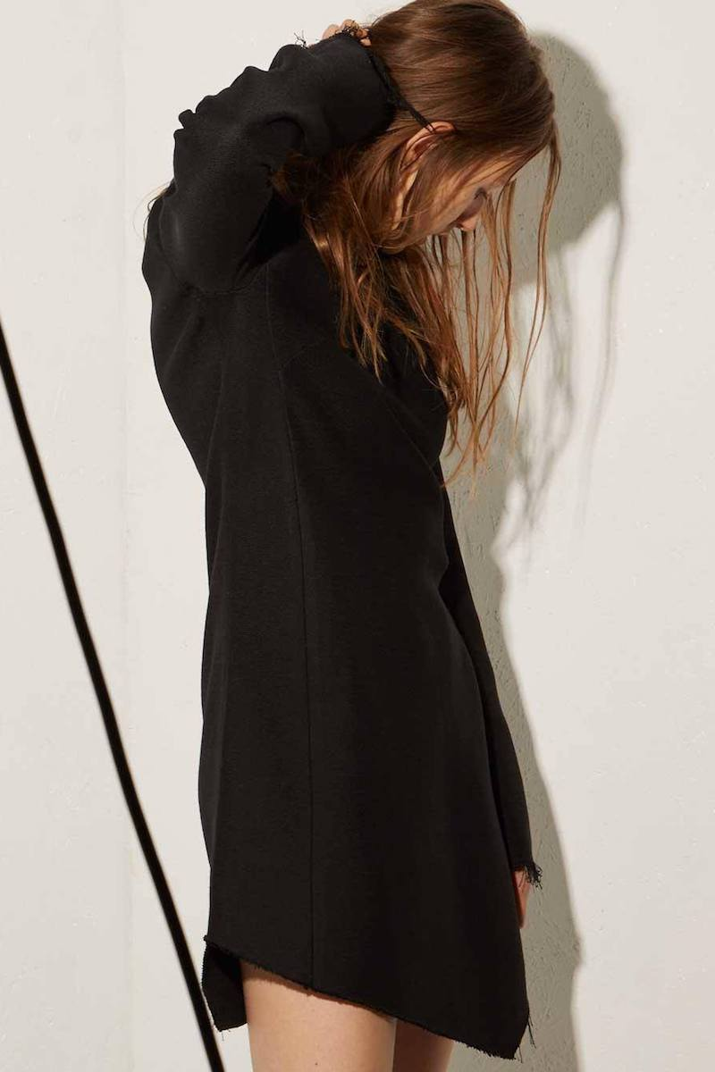 Raey Asymmetric-Hem Long-Sleeved Bodycon Heavy-Weave Dress