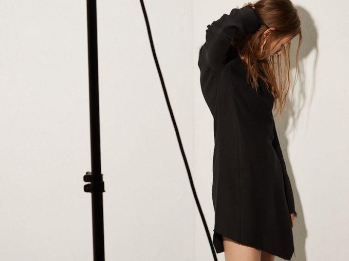 Raey Asymmetric-Hem Long-Sleeved Bodycon Heavy-Weave Dress 1