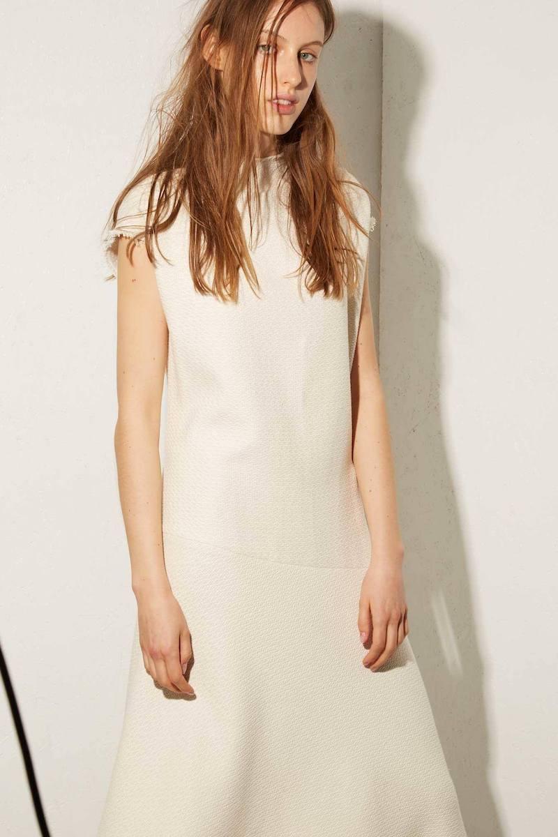 Raey Asymmetric-Hem Raw-Trim Heavy-Weave Dress