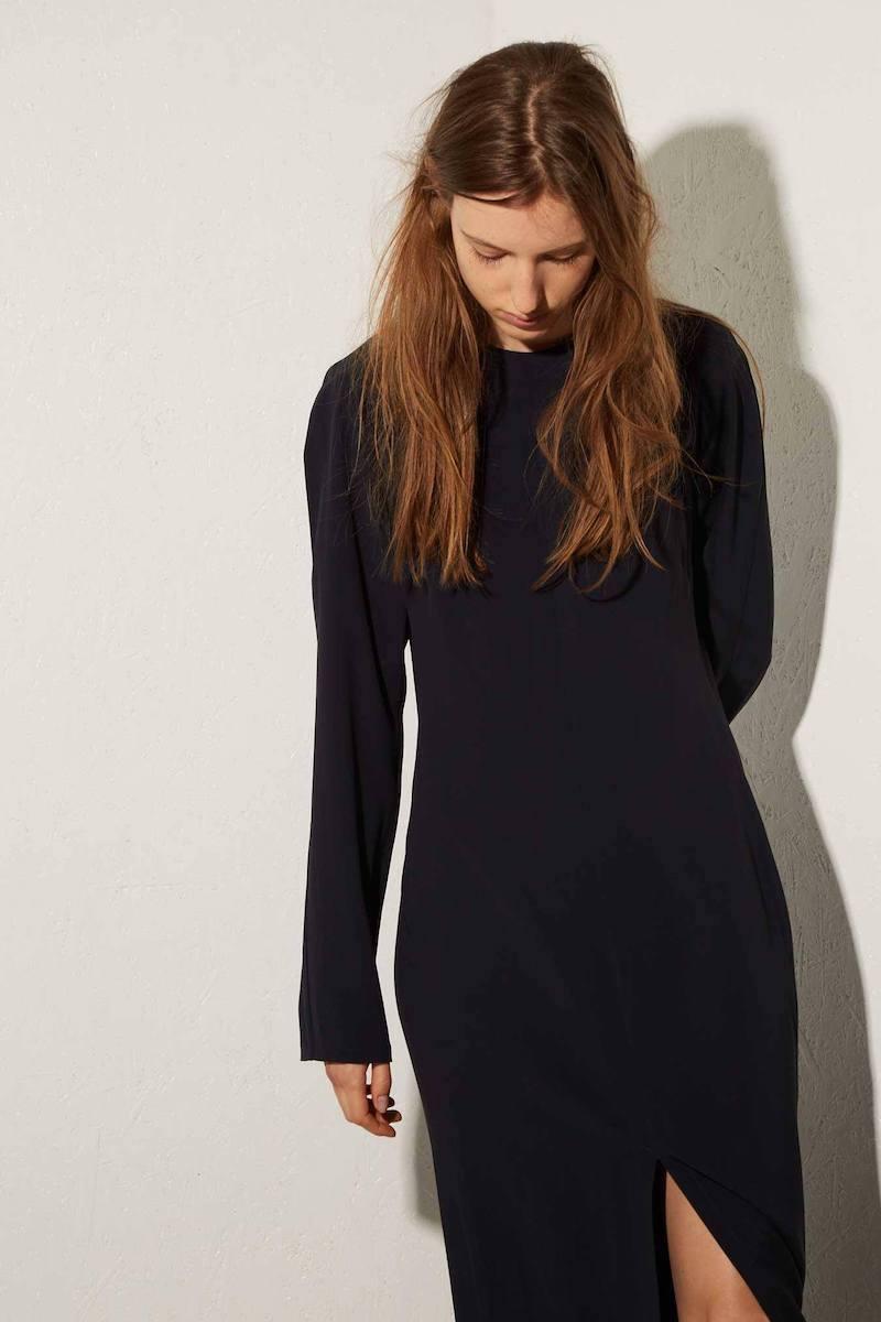 Raey Long-Sleeved Crepe Split-Front Midi Dress