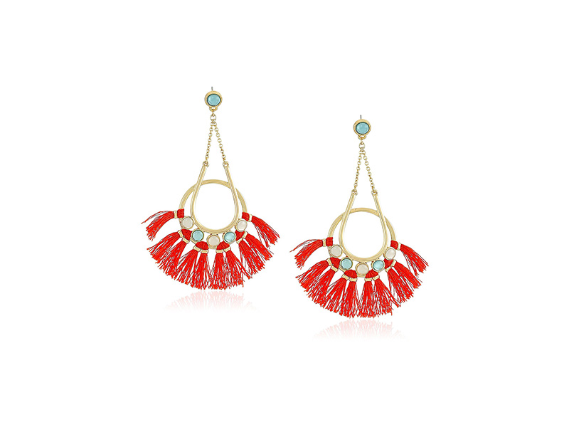 Rebecca Minkoff Utopia Tassel Chandeliers Milky White stones with Indian Red Tassels Drop Earrings